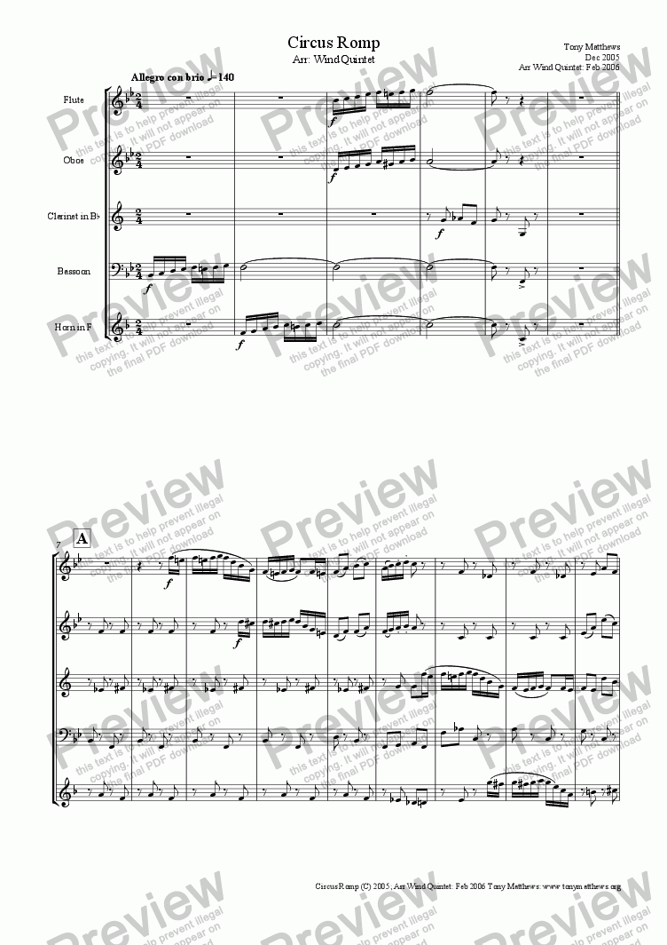 page one of Circus Romp (Arr: Wind Quintet)
