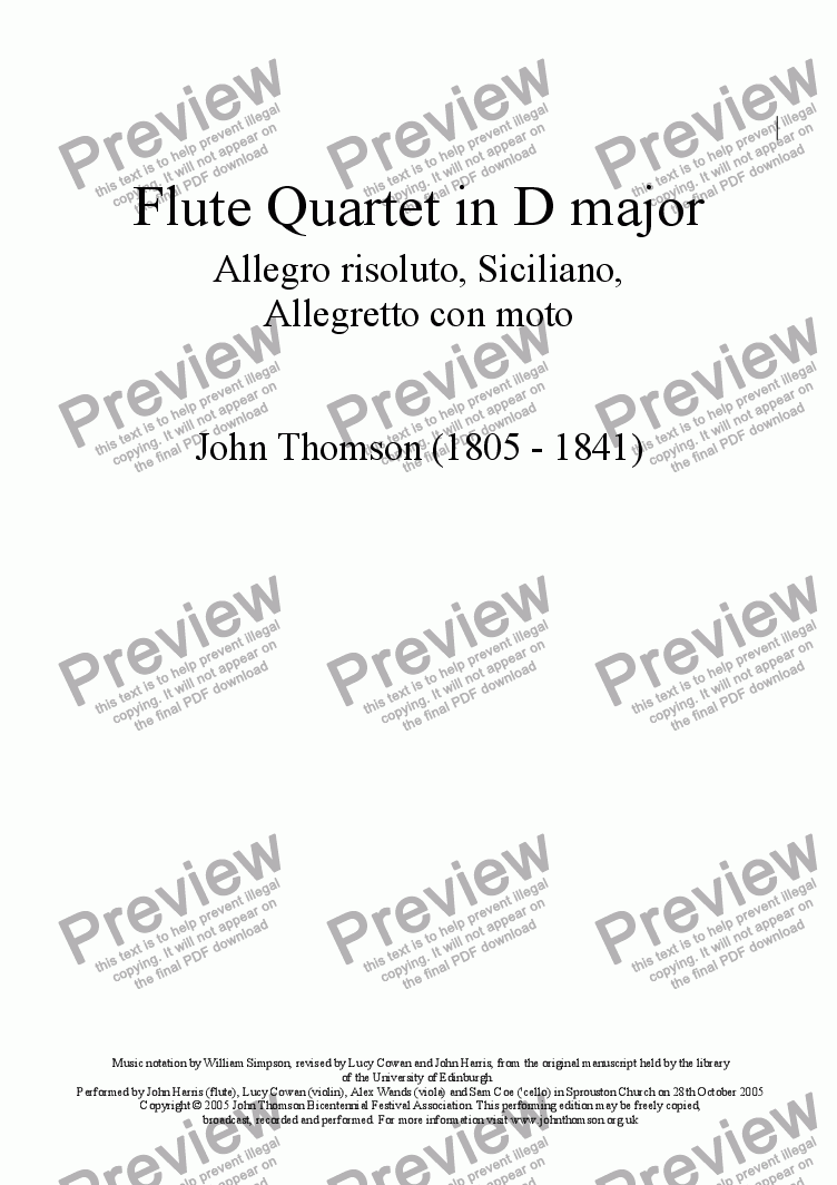 page one of Flute Quartet in D major