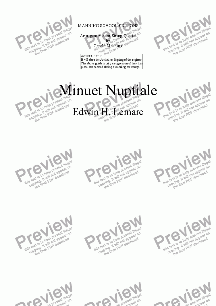 page one of LEMARE, E.H.- Minuet Nuptiale - arr. for String Quartet by Gerald Manning
