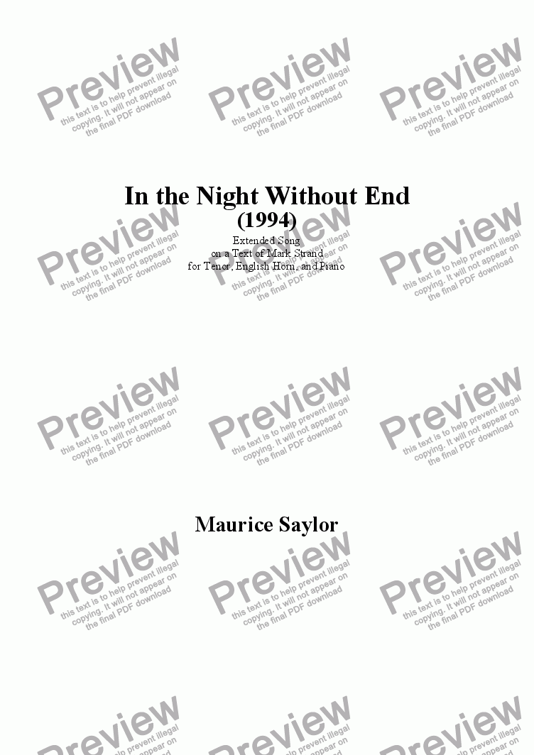 page one of In the Night Without End (1994)