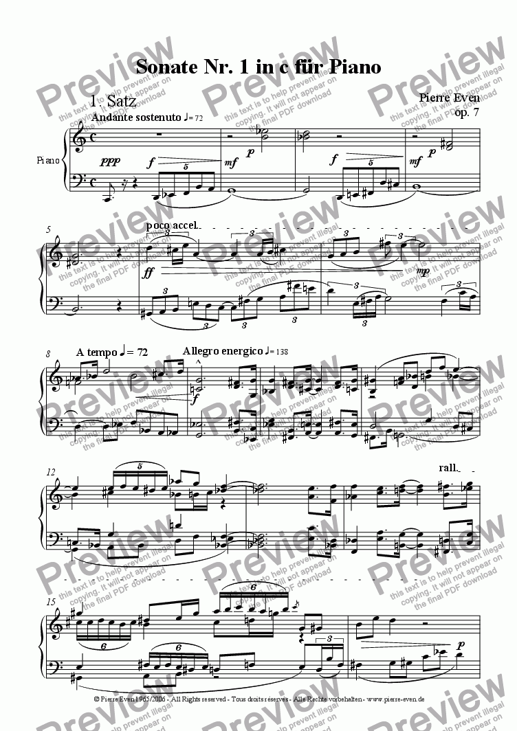 page one of Piano Sonata No. 1 in c op. 7