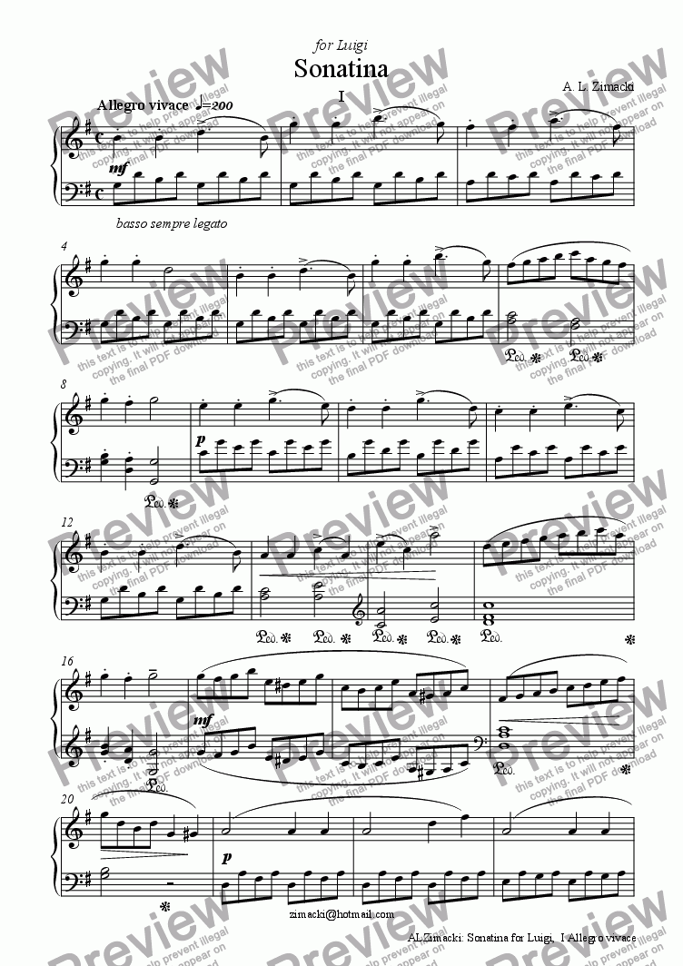 page one of Sonatina for Luigi, I - Allegro vivaceASALTTEXT