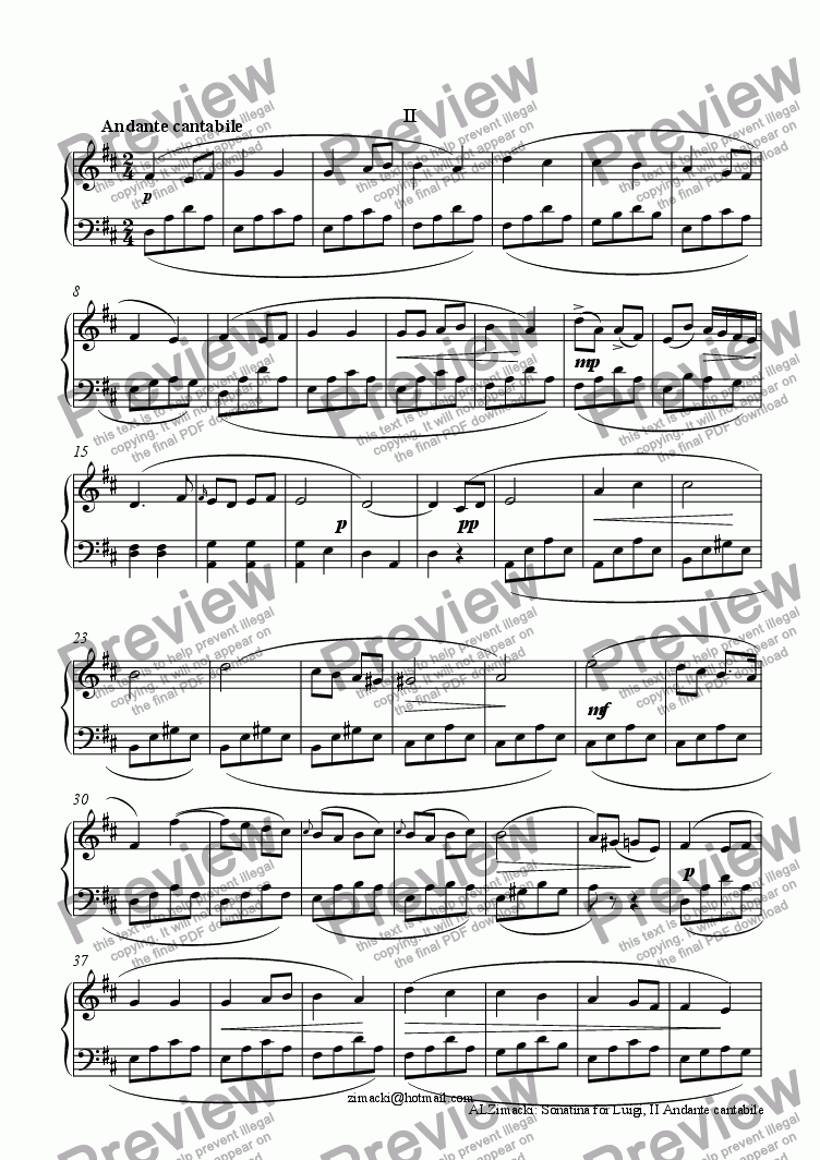 page one of Sonatina for Luigi, II - Andante cantabileASALTTEXT