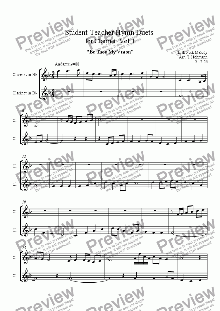 page one of Student - Teacher Hymn Duets for Clarinet  Vol. I