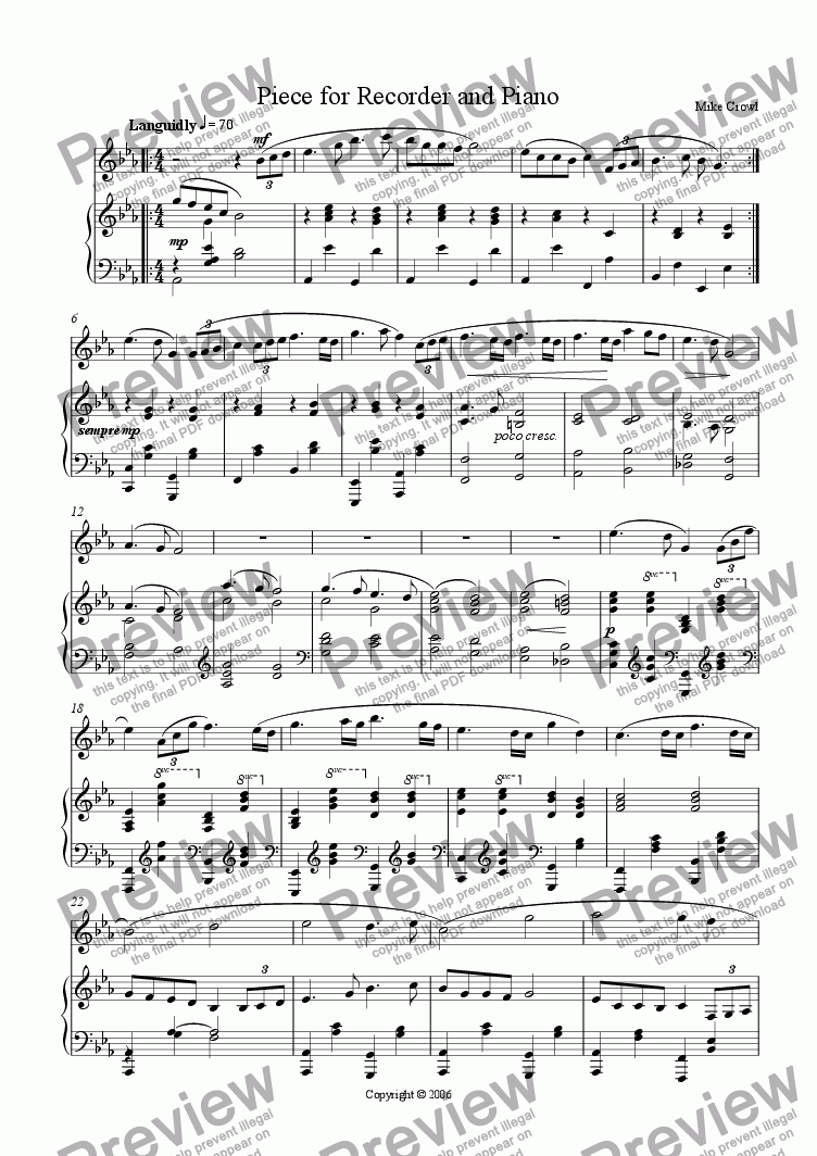 page one of Piece for Recorder and Piano