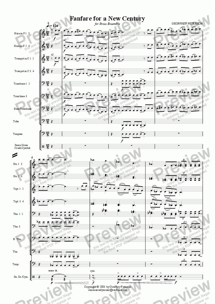page one of Fanfare for a New Century - for Brass ChoirASALTTEXT