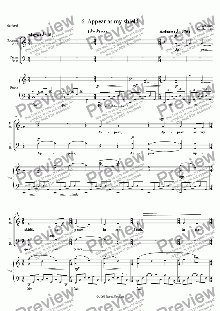 page one of Appear as my shield (Mixed Chorus, Piano)