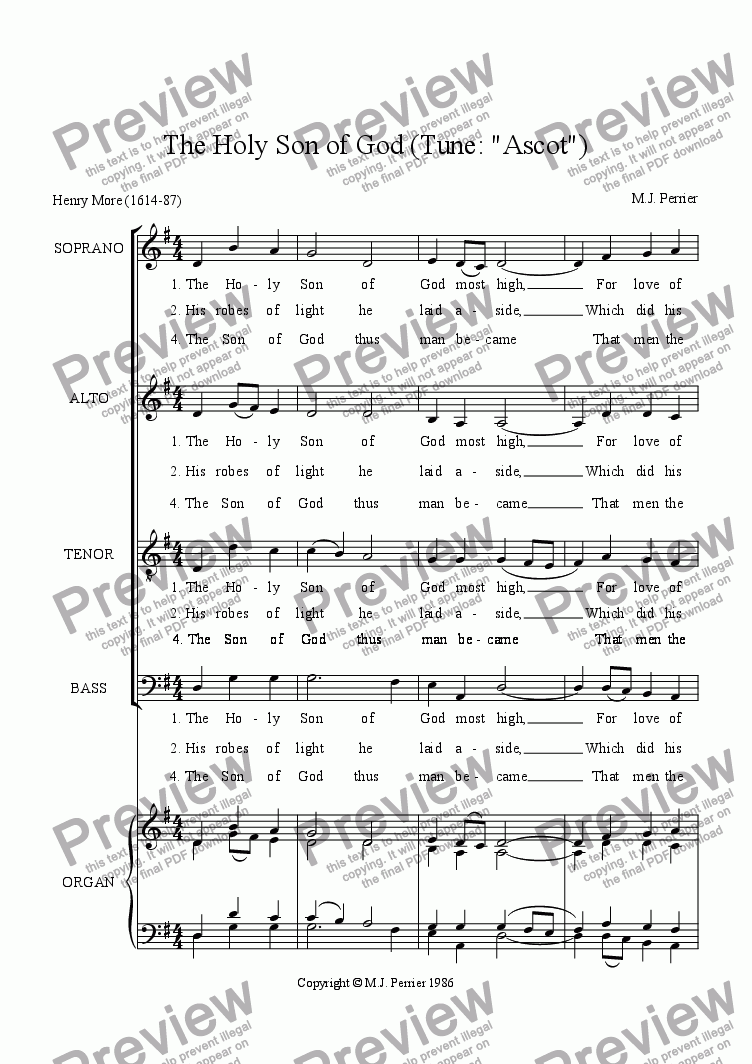 page one of The Holy Son of God (Tune: Ascot)