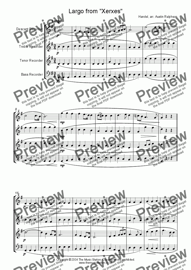 page one of Largo from Xerxes - recorder quartet