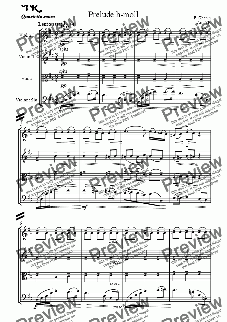 page one of Chopin. Prelude h-moll