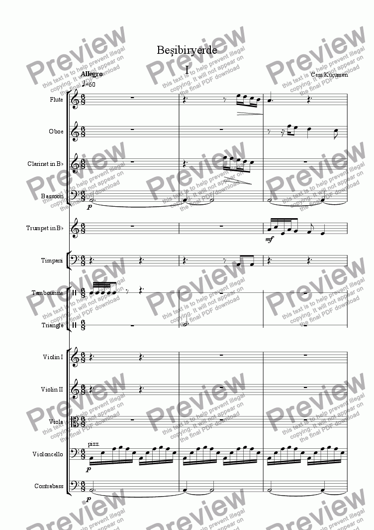 page one of Beşibiryerde - 5 Pieces For Orchestra