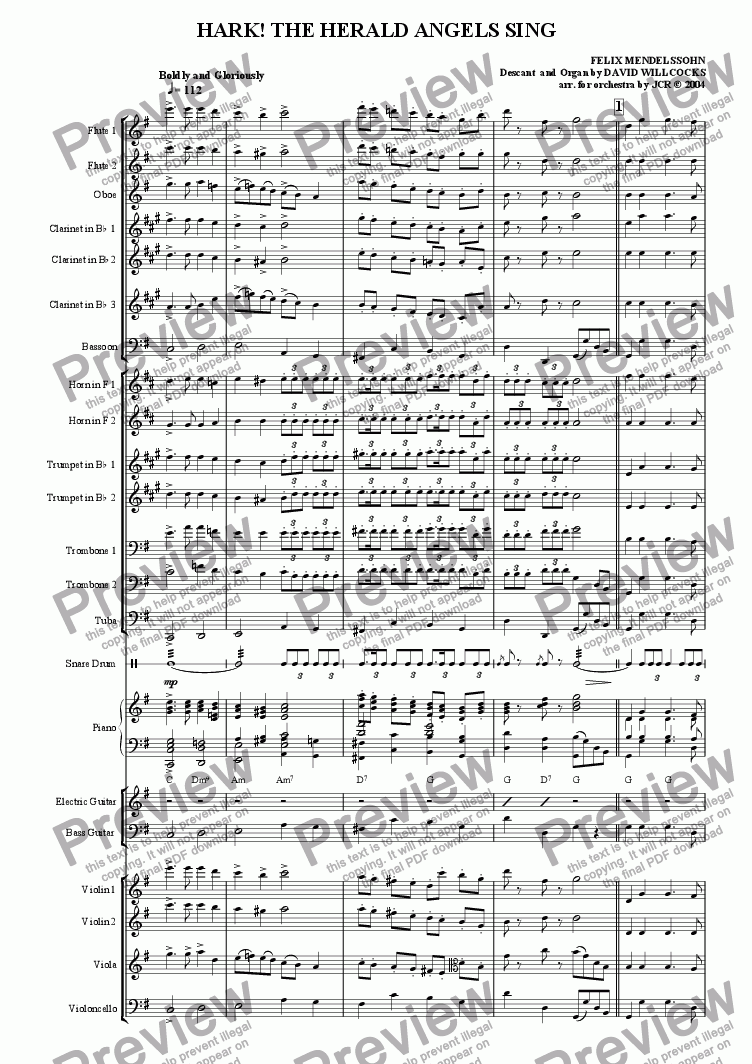 Hark The Herald Angels Sing Download Sheet Music Pdf File