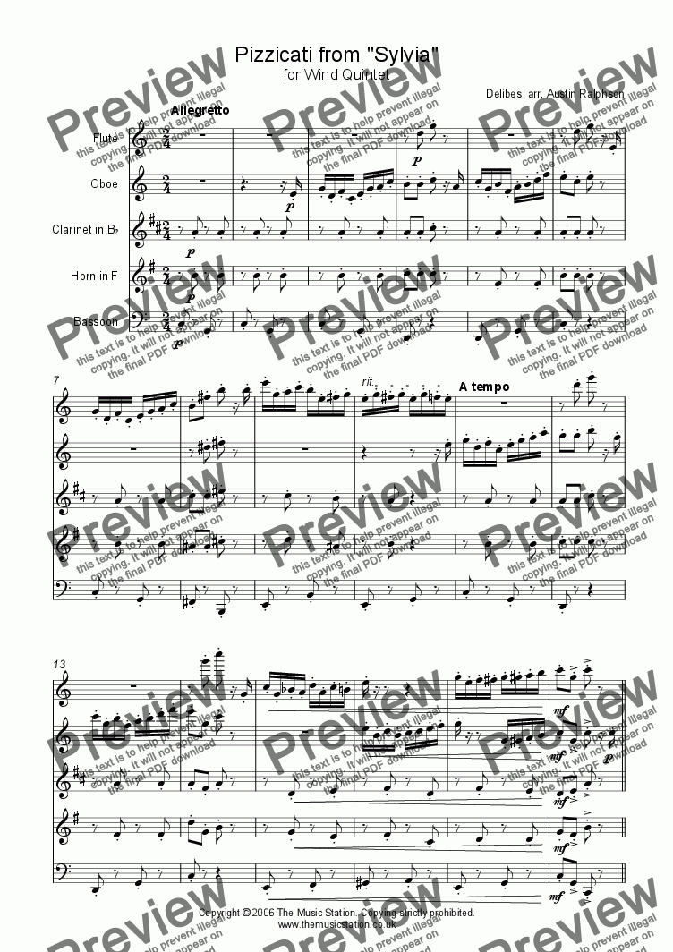 page one of Pizzicati from 'Sylvia' - wind quintet