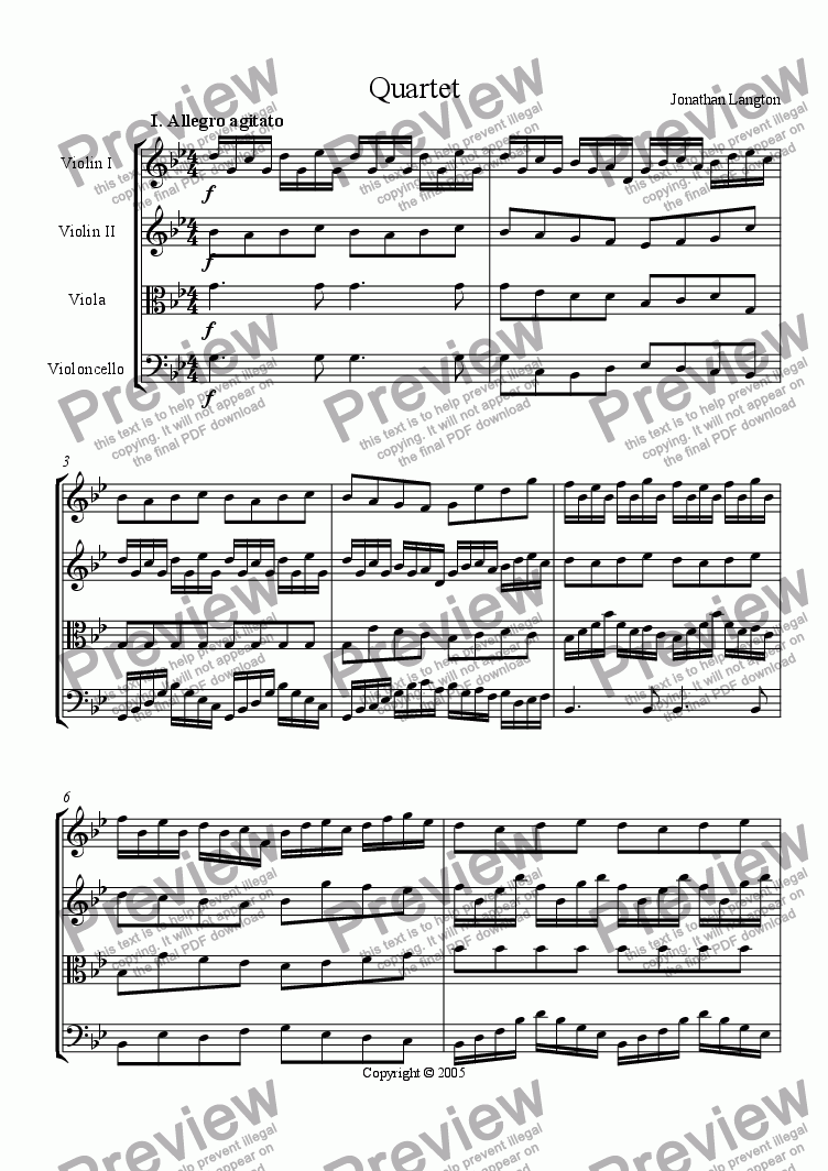 page one of Quartet in G minor