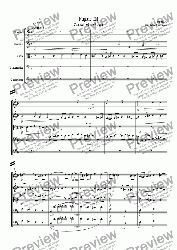 page one of Fugue III