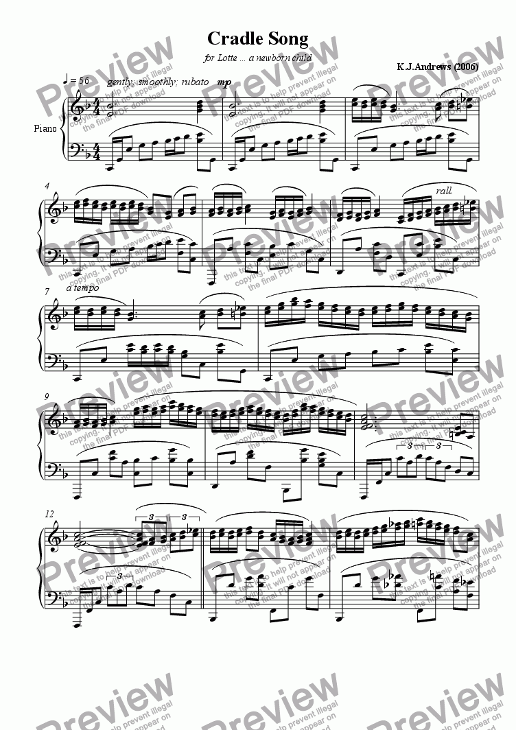page one of Cradle Song