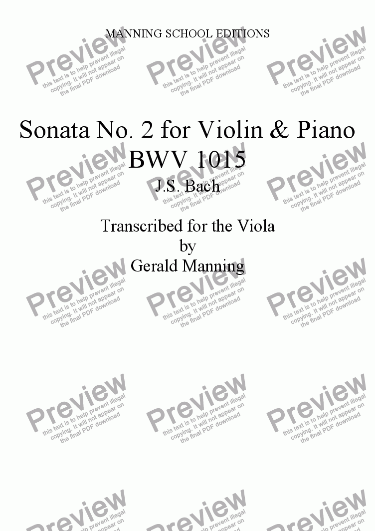 page one of BACH, J.S. Sonata No.2 for Violin & Clavier BWV 1015 transcribed for the Viola by Gerald Manning