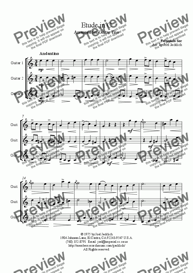 page one of Etude in C