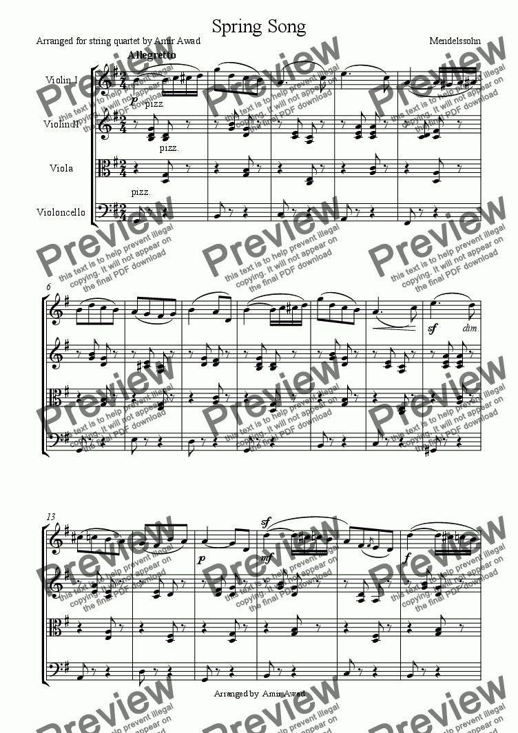 page one of Mendelssohn:Spring Song
