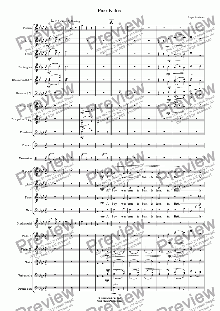 page one of Puer Natus (Orchestra/Choir)
