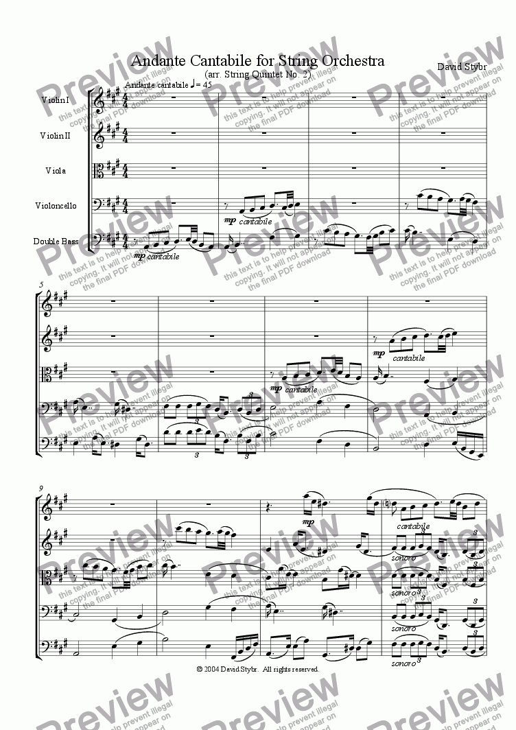 page one of Andante Cantabile for String Orchestra (arr. String Quintet No. 2)