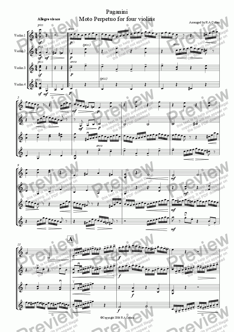 page one of Paganini - MOTO PERPETUO - for violin quartet