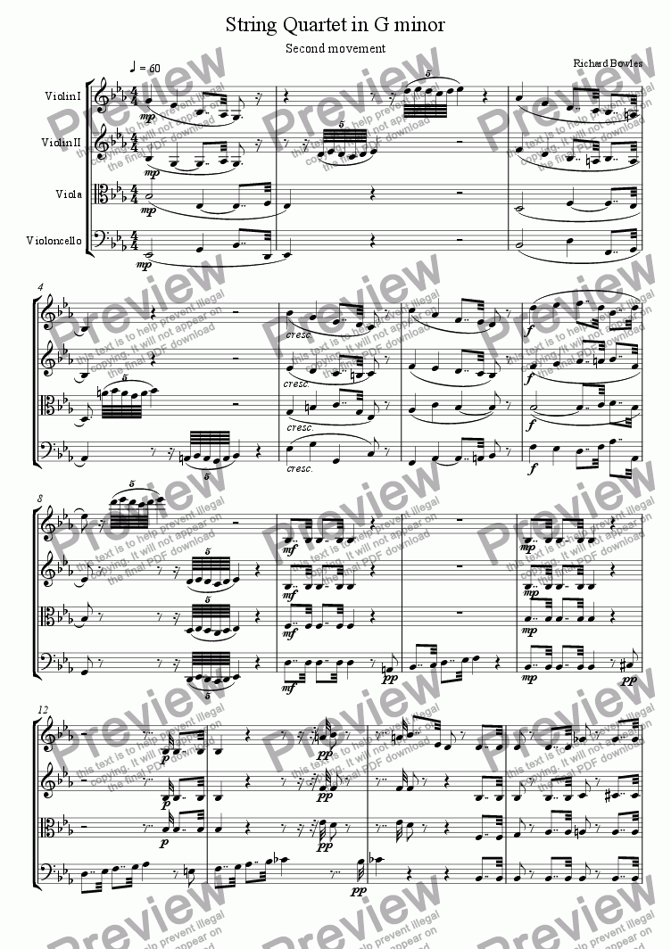 page one of String Quartet in G minor (II)