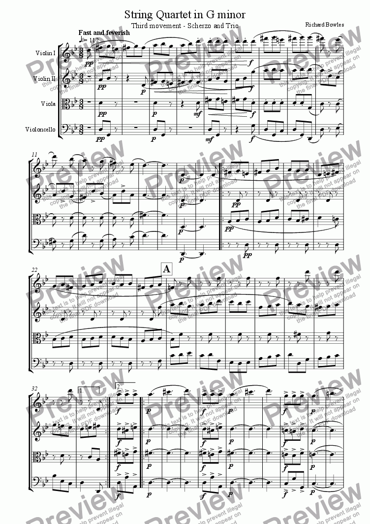 page one of String Quartet in G minor (III)