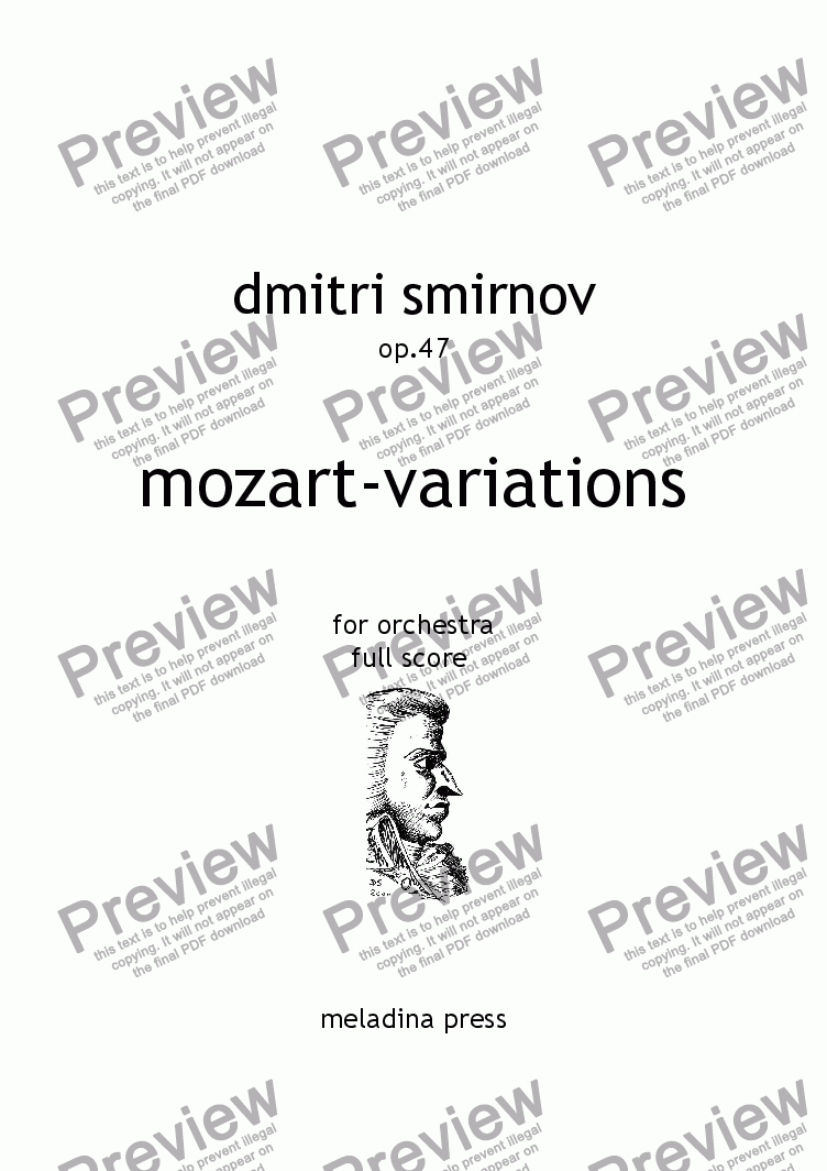 page one of MOZART-VARIATIONS op47 for orchestra