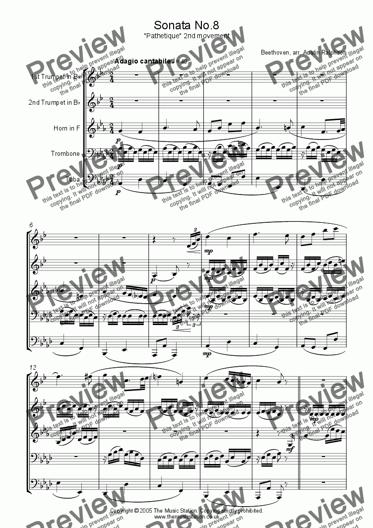"page one of Sonata No.8 ""Pathetique"", 2nd movement - brass quintet"