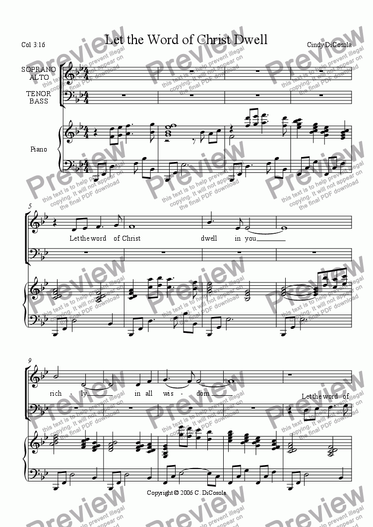 page one of Let the Word of Christ Dwell (Colossians 3:16)  - SATB w/piano