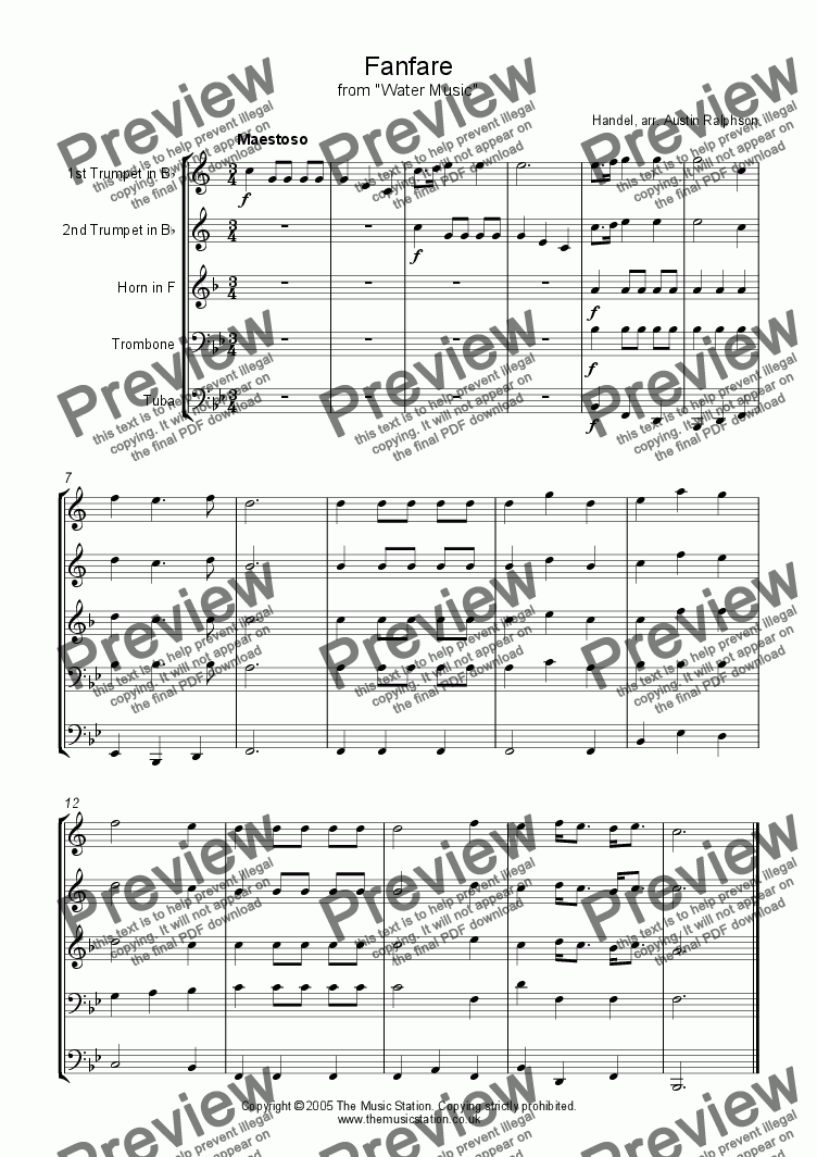"page one of Fanfare from ""Water Music"" - brass quintet"