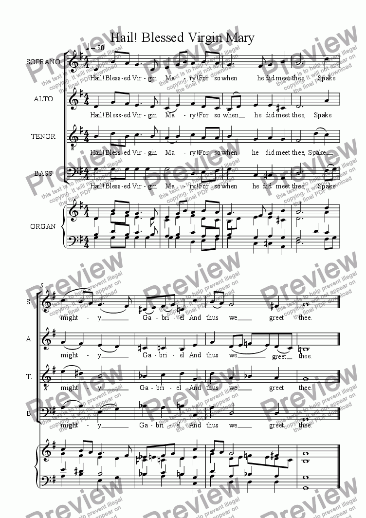 page one of Hail! Blessed Virgin Mary (SATB)