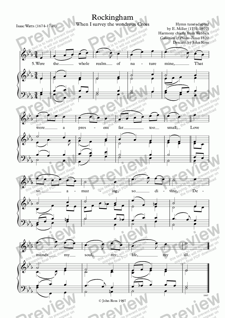 "page one of Descant to the hymn ""Rockingham"""