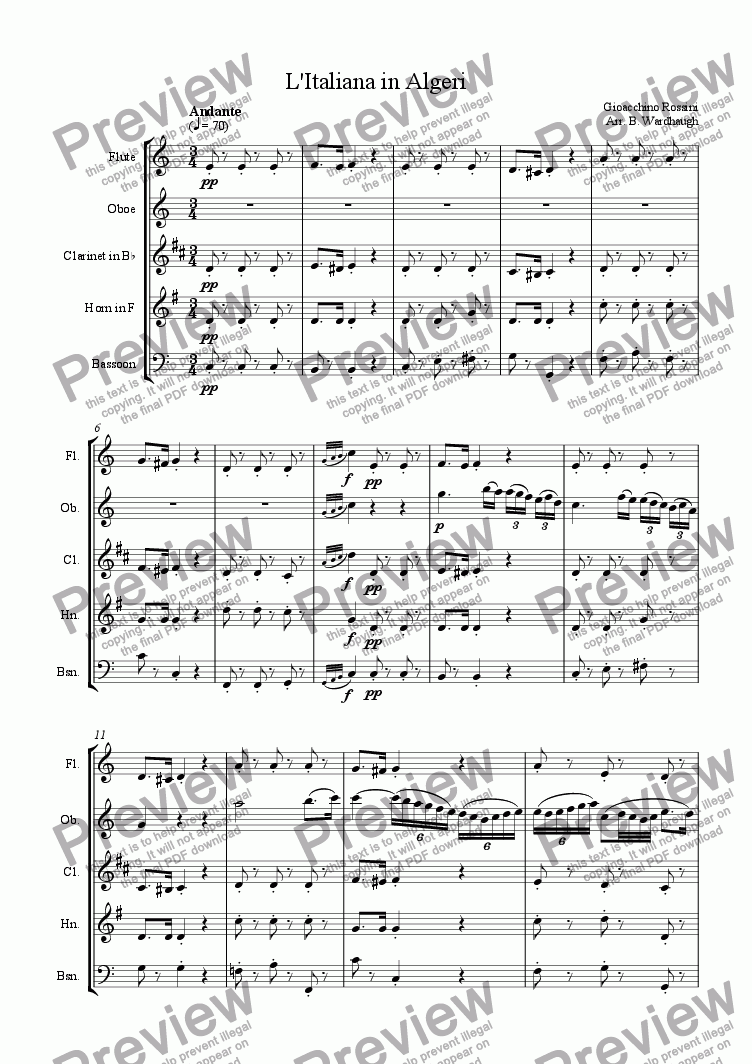 page one of Overture: L'Italiana in Algeri
