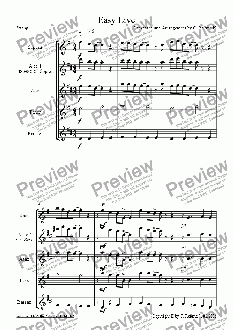 page one of Easy Live for Saxophonquartett