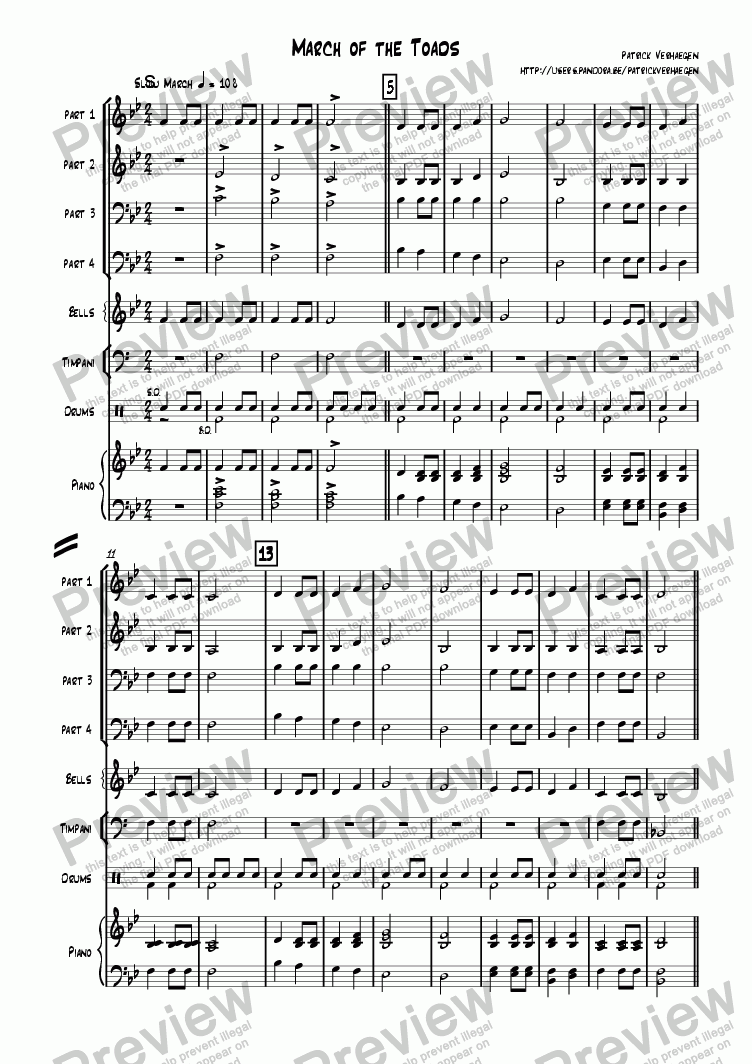 page one of March of the Toads (4 parts + percussion)