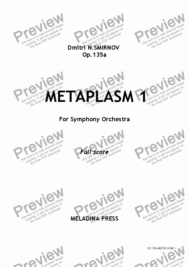 page one of METAPLASM 1 op135a for orchestra