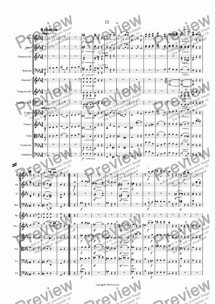 page one of Symphony in C minor (III: Scherzo)