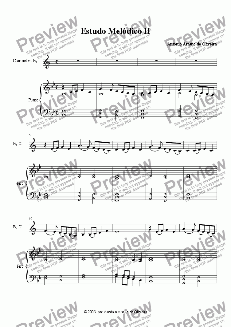 page one of Melodic Study II