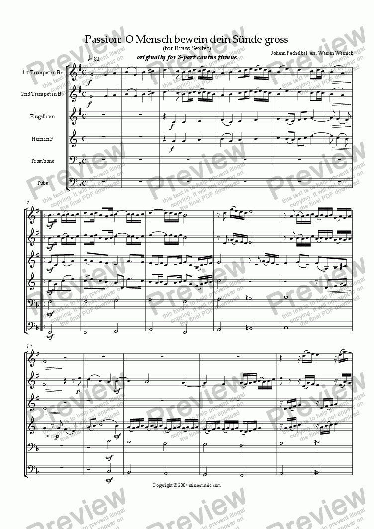 page one of Passion: O Mensch bewein dein S�nde gross for Brass Sextet