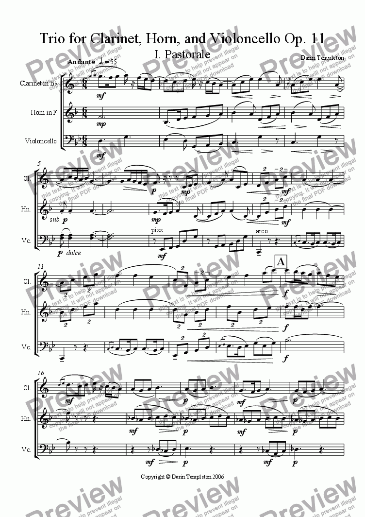 page one of Trio for Clarinet, Horn, and Violoncello Op. 11 (complete score)