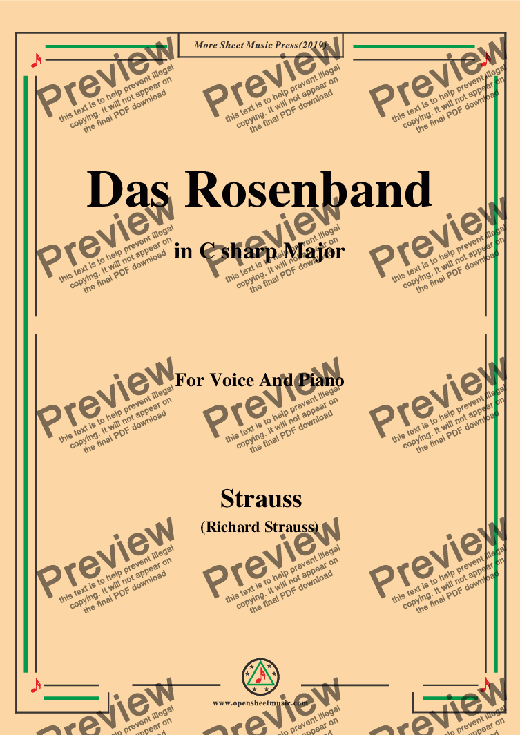 page one of Richard Strauss-Das Rosenband in C sharp Major,For Voice&Pno