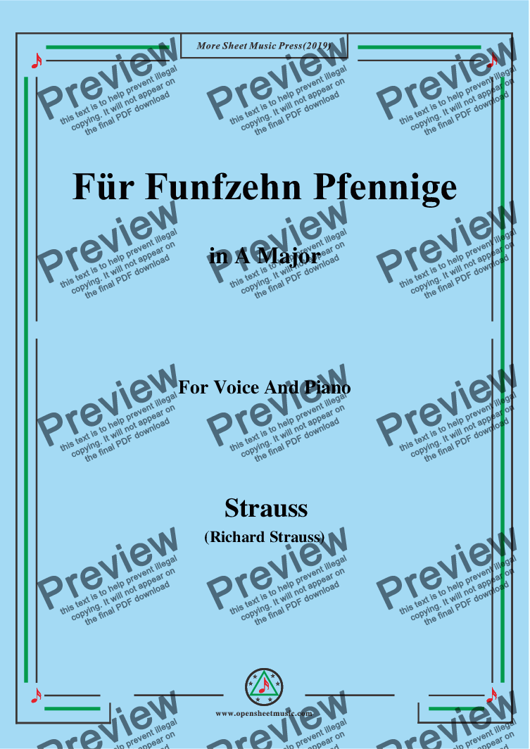 page one of Richard Strauss-Für Funfzehn Pfennige in A Major,For Voice&Pno