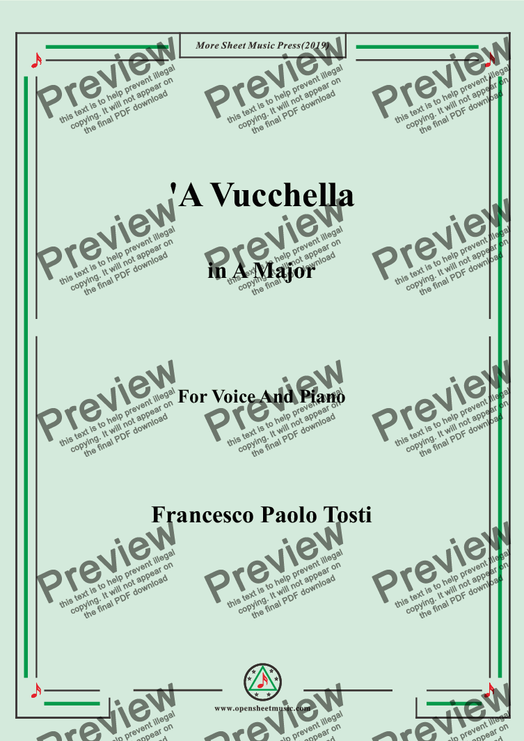 page one of Tosti-'A Vucchella in A Major,For Voice&Pno