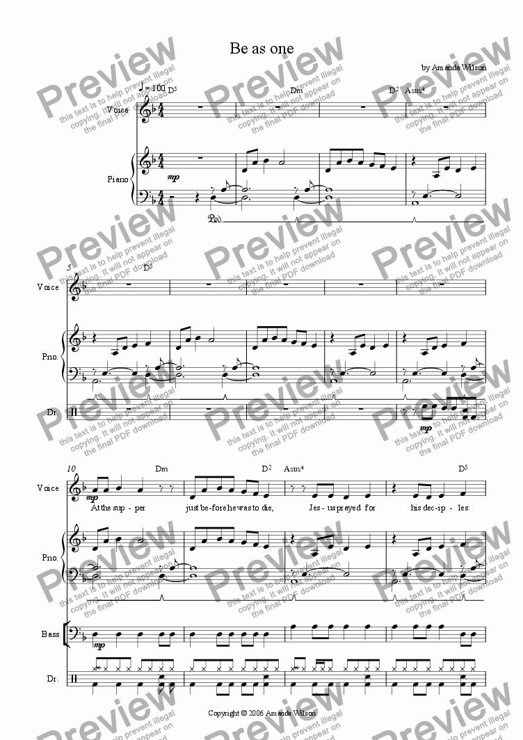page one of Be as one (guitar/band)