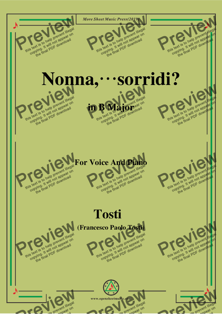 page one of Tosti-Nonna,sorridi in B Major,For Voice&Pno