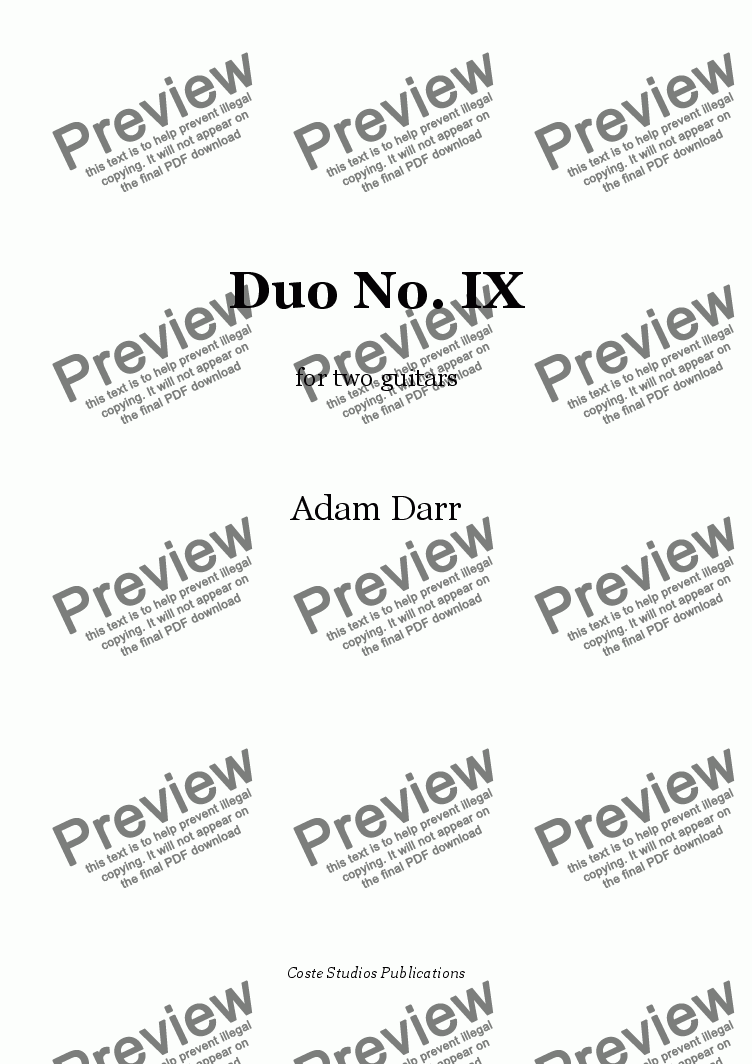 page one of Duo No. IX