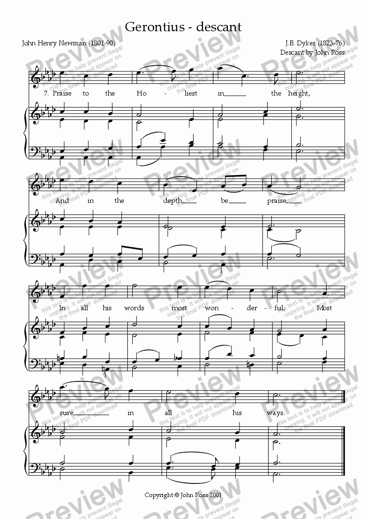 page one of Descant to the hymn