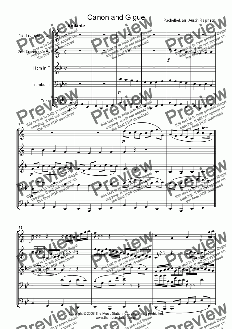 page one of Canon and Gigue - brass quintet